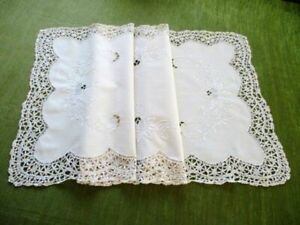 """PRETTY TABLE RUNNER HAND EMBROIDERY/LACE-CREAM-15/33"""""""