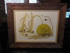 """Vintage Evelyn Wallace Oil Painting 3D Sculptures Of Birds And Pumkin 31"""" X 35"""""""
