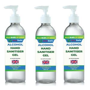 Hand Sanitiser Gel Instant 3 x 500ml Kills 99.9% Bacteria anti viral 70% Alcohol