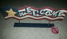 Patriotic American Country Collection Welcome Flag Metal Tabletop Plaque
