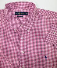 Polo Ralph Lauren Gingham Plaid Classic Fit Poplin Cotton Shirt $98 W/ Pony NWT