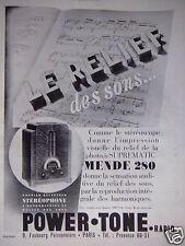 PUBLICITÉ 1932 POWER TONE RADIO LE RELIEF DES SONS - ADVERTISING