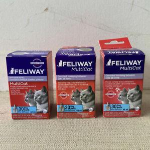 3 Feliway Multicat Diffuser REFILLS  NIB     expdts , 2023, 2024