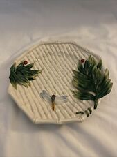 Fitz And Floyd Classics Plate Dish Ceramic Bamboo Palm Leaves Dragonfly Ladybug