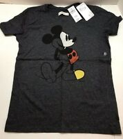 Disney Mickey Mouse Women's Regular Fit T-Shirt Heather Gray XS-M Vintage Tee