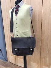 UNISEX Chocolate Brown MULBERRY Leather SATCHEL Messenger X BODY College Ba