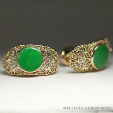 VINTAGE APPLE GREEN JADE CUFF LINKS 14K YELLOW GOLD MEN'S JEWELRY