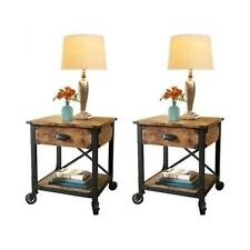 Bedside End Tables Bedroom Nightstand Country Vintage Antique Style Table  Rustic