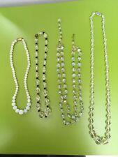 Lavoro Lotto di 4 VINTAGE gioielli vetro CYRISTAL beeds collane parti Craft