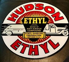 Hudson Gas Oil gasoline sign .~12 inch diameter .Free ship on any 8 signs