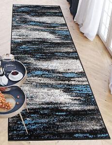 Läufer Grau Blau Modern Teppich Meterware für Küche Wohnzimmer Flur Teppichläufe