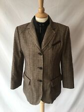 Mabrun Women's Wool Blend Riding Jacket Blazer Coat Elbow Patches Sz US 8 IT 44