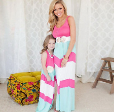 Hot Sal Mother and Daughter Maxi Crewneck Dress Mommy and Me Women Girls Dresses