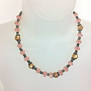Necklace Woman's Pink Swarovski Crystals w/Topaz  and Silver Spacer Beads NWT