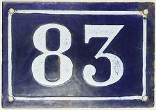 Large old blue French house number 83 door gate plate plaque enamel metal sign