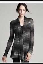 NWT $298 Eileen Fisher Black Ash Mohair Wool Ombre Long Shaped  Cardigan  L