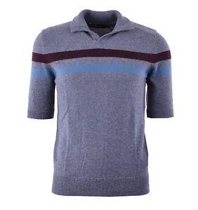 DOLCE & GABBANA RUNWAY Knitted Cashmere Polo Shirt Grey 04234