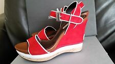 $379 Martinelli by Picolinos Spain Red/White wedge sandals Size 38/7.5 NIB