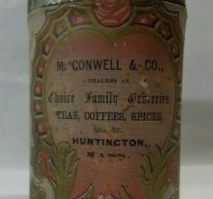 RARE VINTAGE SPICE TIN M. CONWELL & CO. HUNTINGTON, MASS. FAMILY GROCERIES DEALE