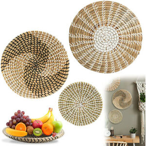 Wall Decor Wicker Baskets Natural Woven Seagrass Hanging Flat Baskets Ornament