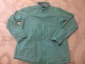 Land's End Boys Green Plaid Button Down Dress Shirt Size XL 18H-20H Husky