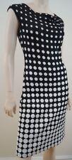 St John Black & White Polka Dot Sans Manches Drapé Cou Robe Tricot US4; UK8