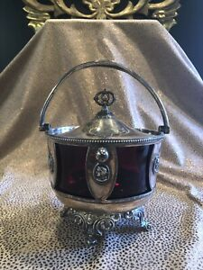 19th Century Simpson Hall Miller Triple Plate and Ruby Glass Covered Dish