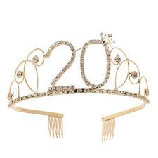 Gorgeous Rhinestone 20 Number Tiara Headband Bridal Hair Decor Comb Pin Splendid