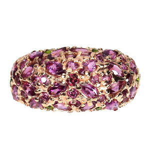 Unheated Marquise Rhodolite Garnet Chrome Diopside 925 Sterling Silver Ring 8
