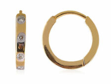 Classy 0.08 Cts Natural Diamonds Hoop Earrings In Solid Hallmark 18K Yellow Gold