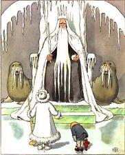 Snow King Boy Walruses Elsa Beskow Fairy Tale Postcard Sweden