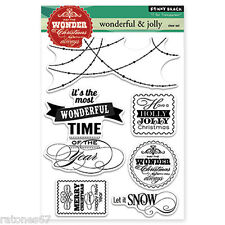New Penny Black WONDERFUL & JOLLY Clear Stamps Christmas Verse Phrase Sentiment