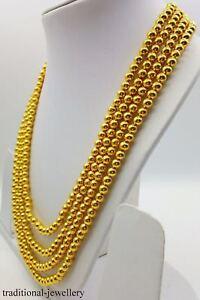 BEADS CHAIN WEDDING GOLD NECKLACE 20K YELLOW GOLD BALL CHAIN 4 LINE BEAD MALA