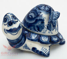 Porcelain Gzhel Lemon Lime holder keeper Tortoise w butterfly turtle handmade