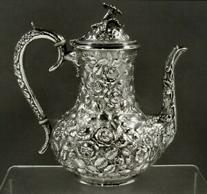 Stieff Sterling Coffee Pot          c1925 HAND DECORATED