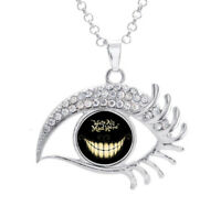 16mm Alice In Wonder World Glass Noosa Snap Crystal Evil Eyes Shaped Necklace
