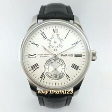 parnis 43mm white dial leather strap power reserve automatic mens watches 330
