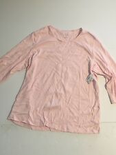 CJ Banks 1x Shirt Top Navy Pink White Polka Dot Layer Your Look 3/4 Sleeve