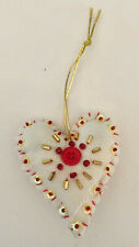 Red & Yellow Handmade Heart Valentine Ornament Recycled Quilt buttons beads love