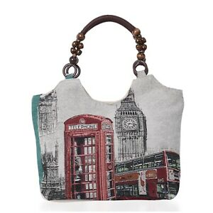 Light Gray with London Pattern Fashion Travel Jute Tote Bag with Handle Drop