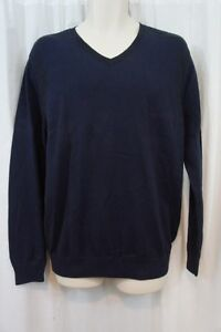 Kenneth Cole Men's Sweater Sz XL Sapphire Blue Light 100% Cotton V-Neck