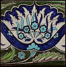 """Extra Large 9"""" William De Morgan flower tile Early Fulham period 1888-1897 UK2"""