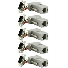 5x Serial RS232 DB9 Male to RJ45 Ethernet Adapter Connector Converter Extender