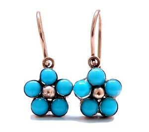 Rose Gold Vintage Turquoise Earrings 14kt