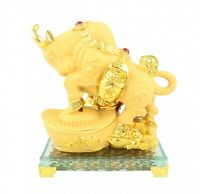 Golden Ox Statue Stepping on Big Ingot for Chinese Lunar Year of the Ox 2021