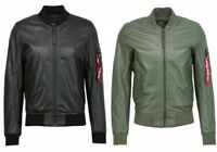 Alpha Industries Men's Leather Jacket MA-1 Leather Lw II