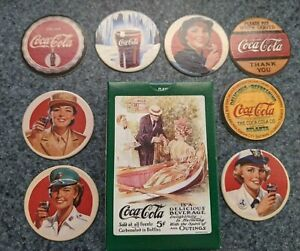 Collectible Coca-Cola Collection Series 2 8 Cap/Pog Set + Playing Cards
