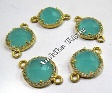 Set of5-Aqua Chalcedony Briolette Connector With Pave CZ Gold Plated-Double Loop