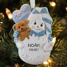 My First Christmas Boy snowmen with snowflake Ornament for Personalization