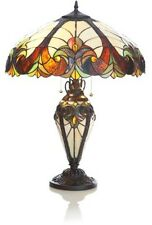 "TABLE LAMP w/Lit Base, Gorgeous Tiffany Stained Glass ""Halston"""